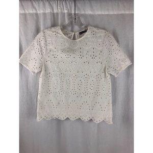 BRANDY MELVILLE John Galt Lace White Shirt Top